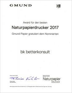 GMUND Award für den besten Naturpapierdrucker 2017